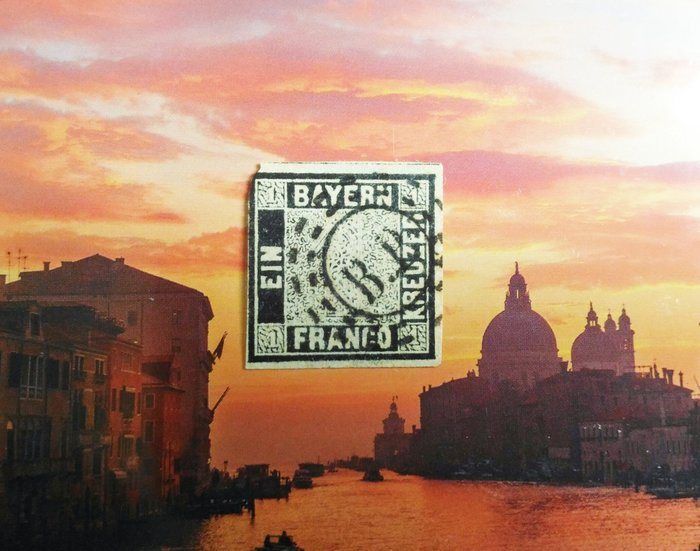 (特典!極品珍藏)德國聯邦 巴伐利亞(bavaria) 1849年(首套郵票第一枚) Bayern 1 Kr. sc#1