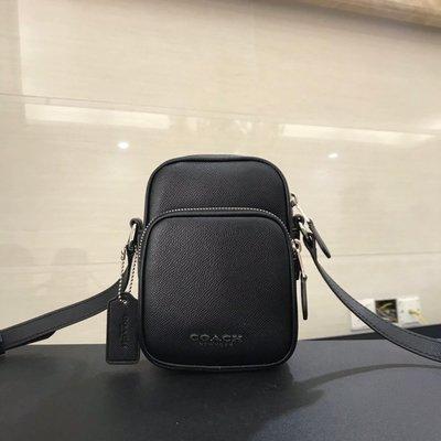 ㊣國際品牌COACH庫㊣美國代購COACH 72515 3月新款【2件免運】男士粒面頭層牛皮側背包 雙隔層斜跨包 手機包