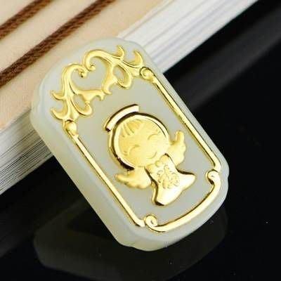 和闐玉項鍊 金鑲玉吊墜-可愛福氣小天使時尚生日情人節禮物男女飾品73gf98[獨家進口][巴黎精品]