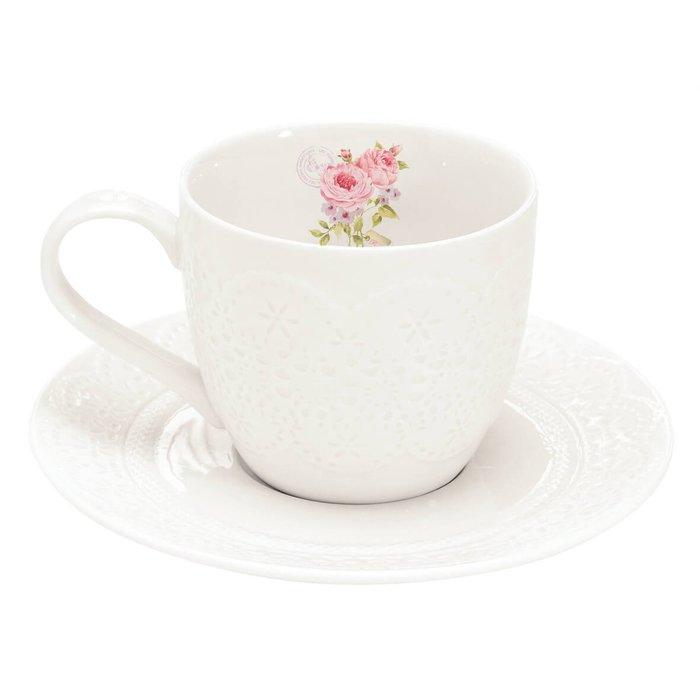 《齊洛瓦鄉村風雜貨》義大利easylife 蕾絲玫瑰茶杯盤組 咖啡杯盤組