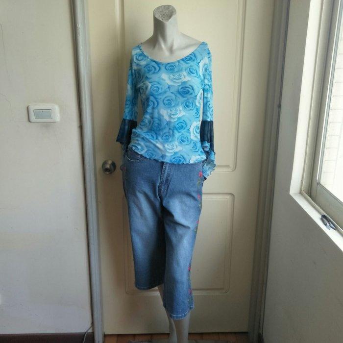 【onsale】香港製YON YIN GE玫瑰印花藍色滾荷葉邊喇叭袖長袖絲紗上衣