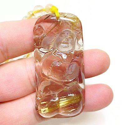 【收藏家】頂級天然鈦晶吊墜 彌勒佛雕刻款 彌勒財神 白底清料粗版絲 62g