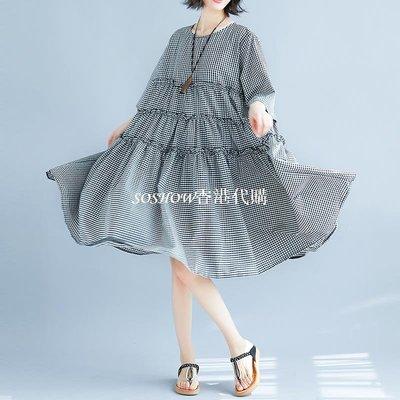 2018夏裝新款文藝大碼寬松短袖棉麻格子連衣裙a字顯瘦拼接大擺裙