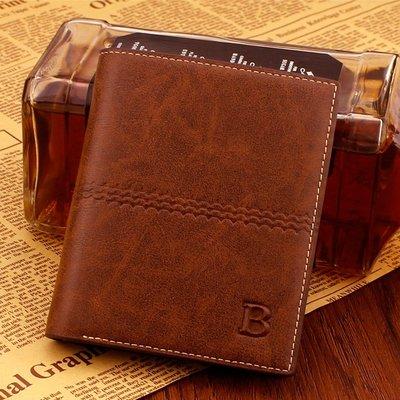 新款復古男士短款錢包正韓時尚多卡位豎款錢夾青年橫款商務休閒潮