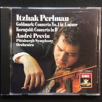 Goldmark高德馬克&Korngold康果爾德-小提琴協奏曲 Perlman帕爾曼/小提琴 普列文/指揮 美國版
