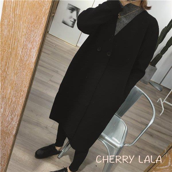 CHERRY LALA 韓國單實拍 超厚實不起球質感硬挺長款寬鬆毛衣開衫外套-黑/深咖/墨綠  Y10121 chic