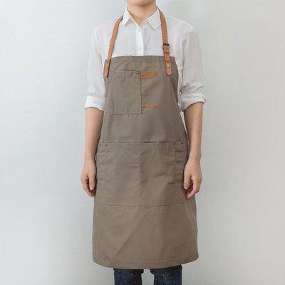 圍裙 簡約日式牛仔圍裙廚房家用咖啡師奶茶店餐廳帆布工作圍裙定制logo
