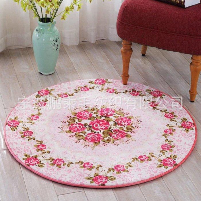 粉紅玫瑰精品屋~歐式浪漫玫瑰圓形地毯~85*85公分