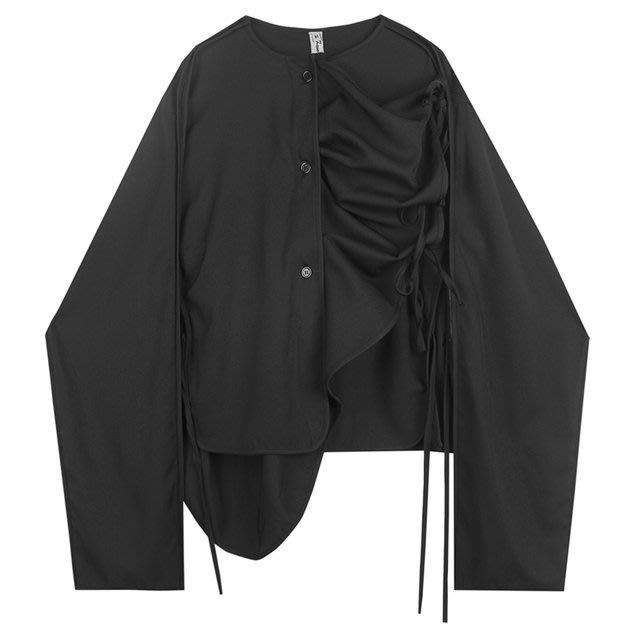 FINDSENSE 2019 秋季上新 G19 不規則係帶長袖襯衫 黑色素面襯衫 男裝 上衣