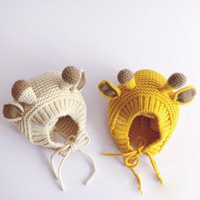 【媽媽倉庫】 可愛鹿角造型針織帽 童帽 帽子 保暖帽
