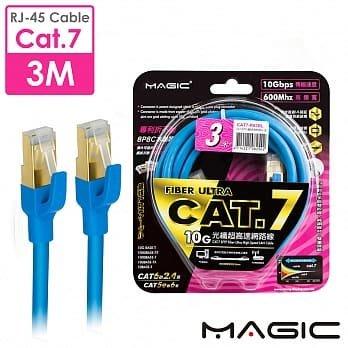 ☆YoYo 3C ☆MAGIC Cat.7 SFTP圓線 26AWG光纖超高速網路線(專利折不斷接頭)3M