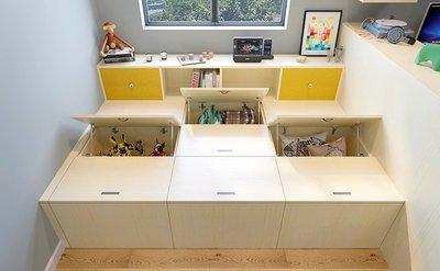 木地板架高收納櫃系統掀櫃裝潢家具