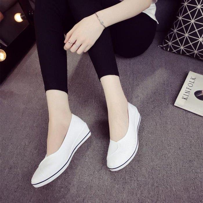 一字牌護士鞋女白色坡跟軟底新款小白鞋秋冬款老北京布鞋平底