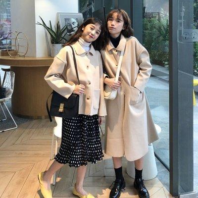 正韓 大衣 毛呢 中長款 寬鬆秋冬新款韓版簡約純色呢子外套小個子寬松森系毛呢大衣女學生