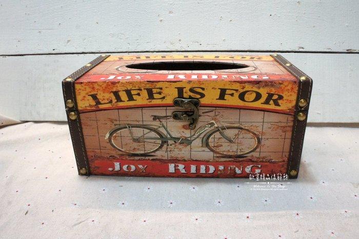 ~*歐室精品傢飾館*~Loft工業 美式鄉村 復古 仿舊 腳踏車 三輪車 木盒 鉚釘 皮革 扣環 面紙盒~新款上市~