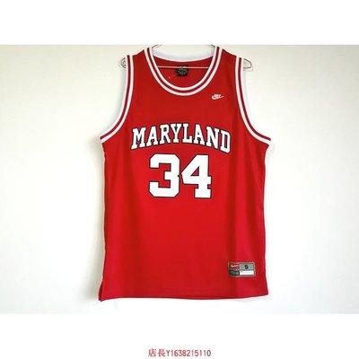 NCAA 馬里蘭大學34號倫-拜亞斯BIAS紅色新面料刺繡球衣NBA-胖胖購物