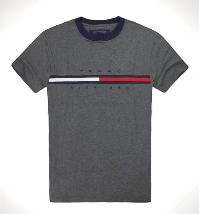 美國百分百【Tommy Hilfiger】T恤 TH 男款 Logo 圖案 短袖 上衣 鐵灰  T-Shirt A794
