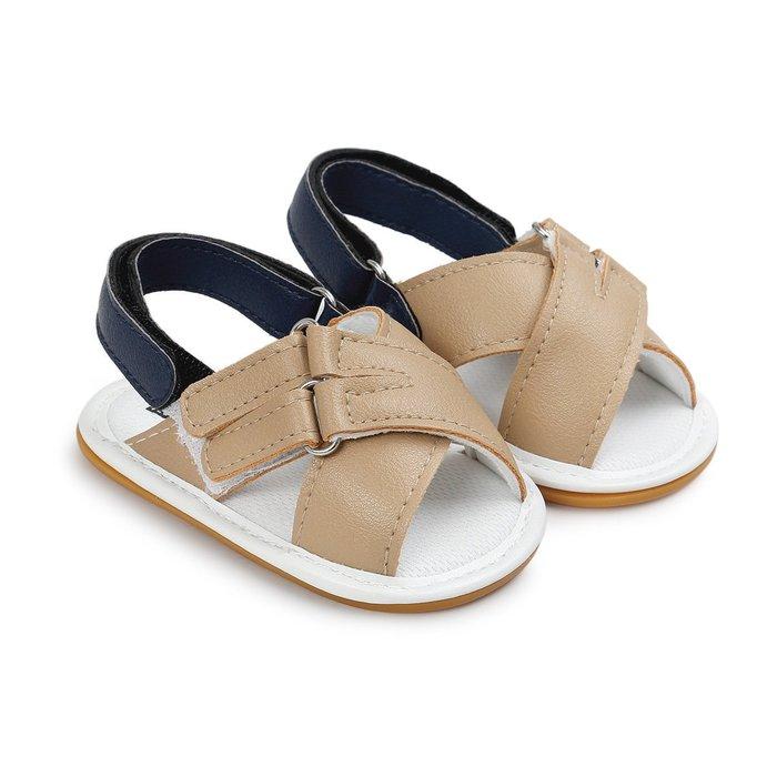 森林寶貝屋~膠底~咖啡休閒涼鞋~學步鞋~童鞋~寶寶鞋~幼兒鞋~學走鞋~粘扣設計~穿脫方便~彌月送禮~特價135元