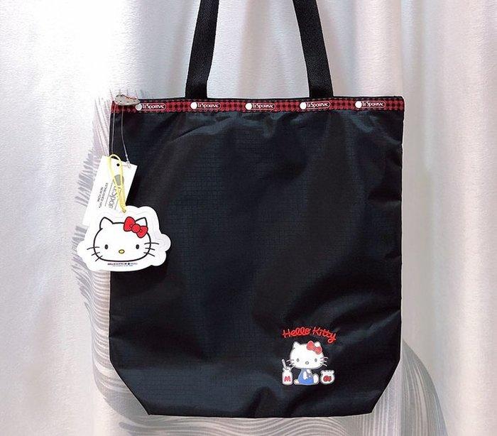 ♥ 小花日韓雜貨 ♥ --Lesportsac 灰色黑色kitty肩背包大包書包出遊逛街包 2432 2728