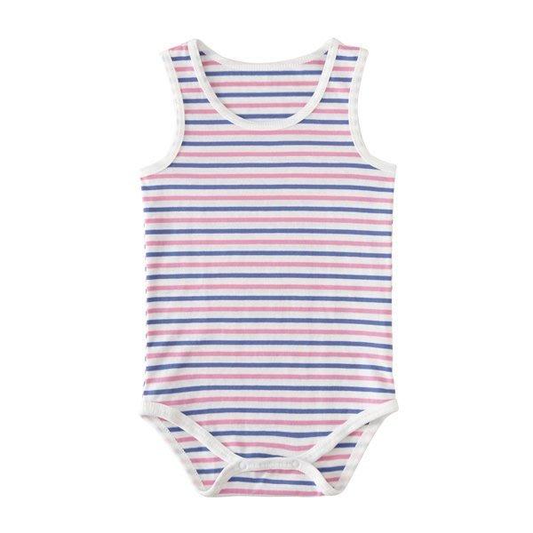 【日本AKACHAN阿卡將】粉藍條紋無袖包屁衣 (80/ 90cm) 連身褲  背心  男孩/女孩