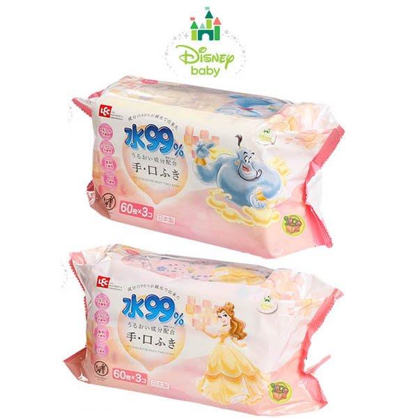 【JPGO】日本製 LEC 99%純水濕紙巾 Disney系列~手口可用款 60枚x3包入 #312 305