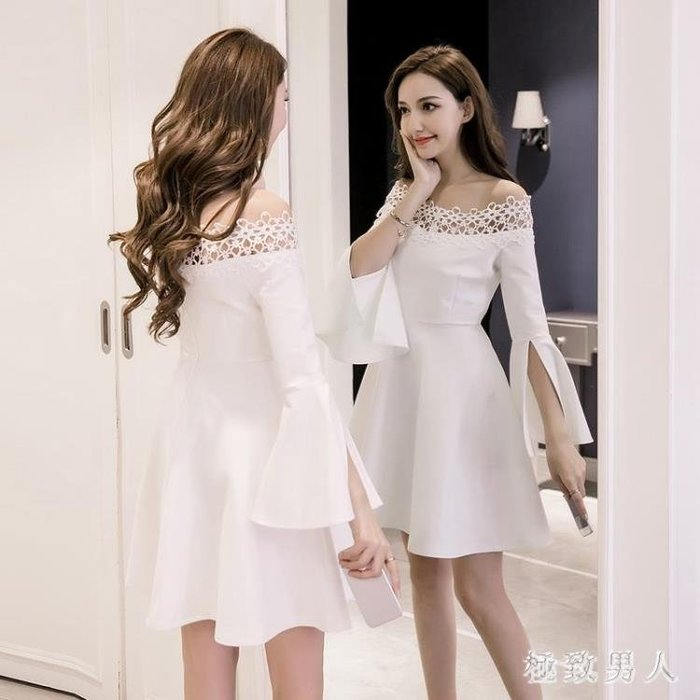 小禮服 赫本小黑裙秋裝女新款喇叭袖氣質年會禮服裙一字肩蓬蓬洋裝 LN7421