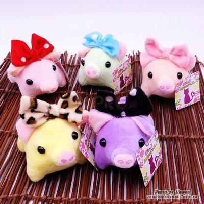【UNIPRO】Q版 水玉點點蝴蝶結 糖果色 豬 療癒豬 短腿豬 絨毛玩偶 吊飾 娃娃 PIG