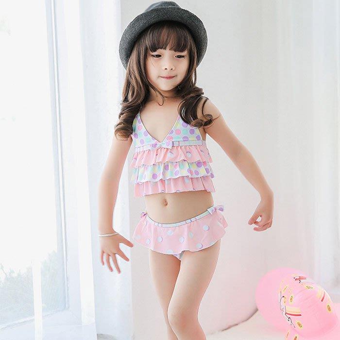 5Cgo【鴿樓】566312340364 兒童泳衣夏季新款女孩分體可愛寶寶泳裝旅遊度假溫泉女童韓國波點夏季裙式比