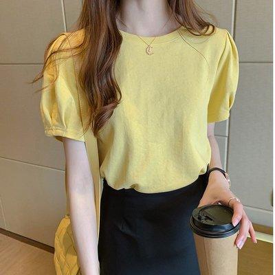 ❤Princess x Shop❤軟妹甜心請認準這件泡泡袖上衣洋氣寬鬆白色t恤半袖T恤TJN15-28-7韓國同款女裝