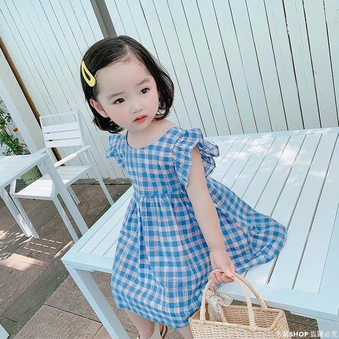 米羅SHOP 女童格子連衣裙夏裝2020潮新款中小兒童寶寶正韓小女孩短袖寶寶裙子洋氣ML686