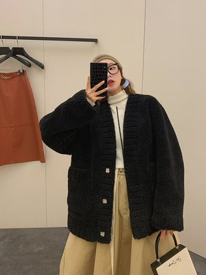 'OVERCOAT'可可愛愛充滿希望 開衫式 進口編織羊毛皮草外套女