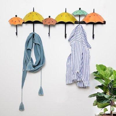 地中海風格鐵藝雨傘造型裝飾掛衣帽鉤創意玄關試衣間個性掛鉤壁掛