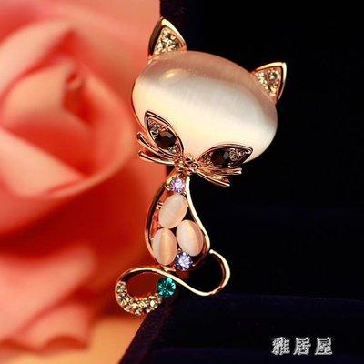 可愛貓咪 精致百搭韓版胸針女人造水晶動物胸花絲巾扣別針配飾品 LN105