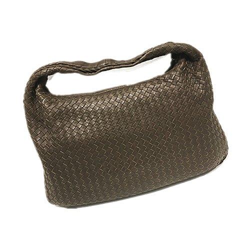 二手旗艦 BOTTEGA VENETA 咖啡色 羊皮 編織 拉鍊 和尚包 單肩包(公益店)10501