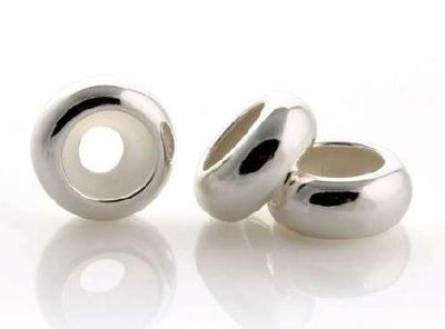 嗨,寶貝銀飾珠寶* 925純銀☆光面圓扁形隔珠定位扣吊墜(孔徑內有矽膠)全館全面85折,特價品除外