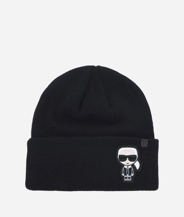 絕版現貨 KARL LAGERFELD 老佛爺 卡爾 拉格斐 扁帽 毛帽 針織帽 黑色 羊毛