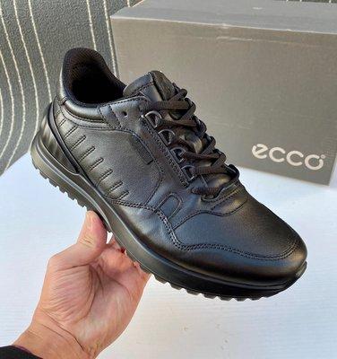 Ecco愛步男休閒鞋散步磨砂皮系帶低幫柔軟ASTIR 523214健步男鞋黑色40-44