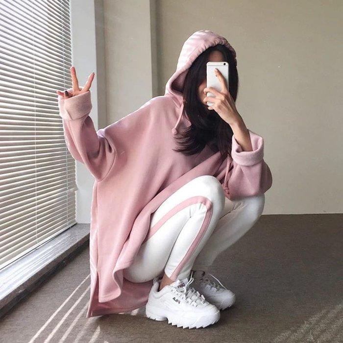 韓版休閒運動兩件式套裝棉質帽T連帽上衣休閒褲