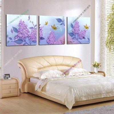 【40*40cm】【厚1.2cm】紫色花卉-無框畫裝飾畫版畫客廳簡約家居餐廳臥室牆壁【280101_337】(1套價格)