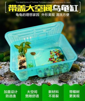 ZIHOPE 魚缸-烏龜缸帶曬臺水陸缸小中大型巴西龜缸塑料養龜缸帶蓋烏龜窩寵物盒ZI812