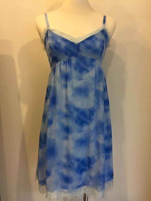 Hollister HCO 女生 Arch Bay Dress 細肩帶雲彩雪紡洋裝 水藍 S 現貨