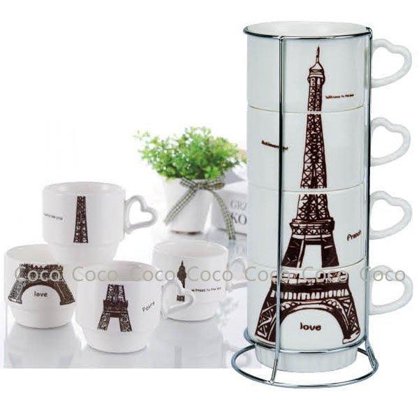 艾菲爾疊疊樂陶瓷杯組 + 贈矽膠釣茶杯蓋*1 【CocoLife】