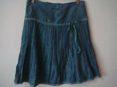 綠色側隱形拉鍊緹花滾邊裙擺百摺皺摺麂皮絨蝴蝶結裝飾裙子長裙及膝裙