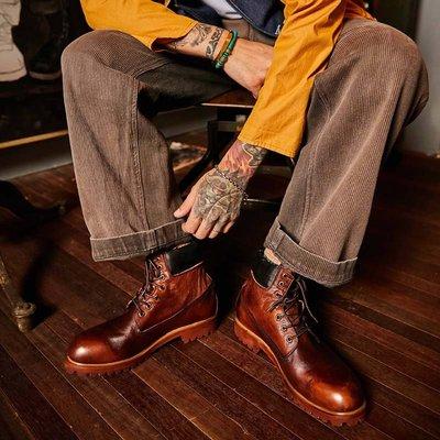 做舊擦色圓頭真皮復古工裝馬丁機車靴男高幫牛皮鞋戶外沙漠短靴潮