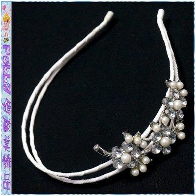 ☆POLLY媽☆歐美進口側邊珍珠水鑽花朵葉片白色羅緞纏繞雙圈髮箍