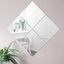 (佳舫小舖) 【MR434AF】(4)無框細邊掛鏡、 壁鏡、化粧鏡~ 4入裝 ~鏡子(附泡棉雙面膠)