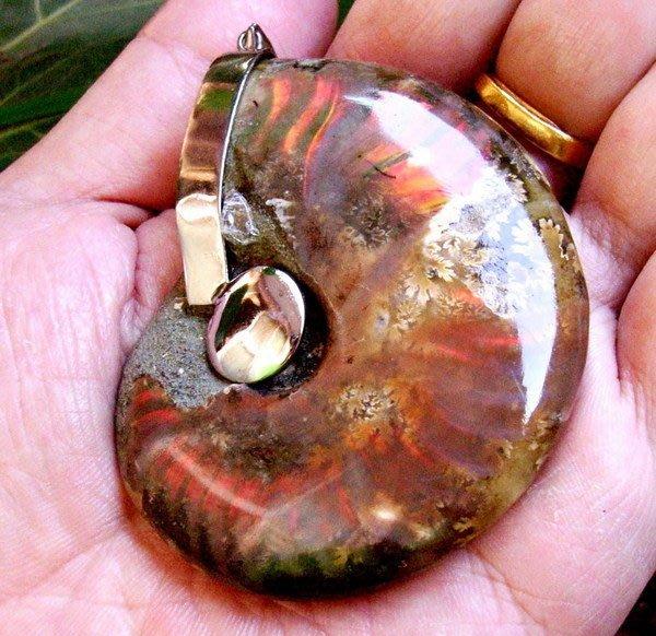 小風鈴~天然極品彩虹光包框完整斑彩螺化石墜子(重93.2g)此款紅紫光最強烈(餓火命)