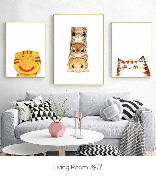 三幅一組油畫布 北歐風格動物可愛萌寵貓咪老鼠 畫芯/畫布/30X40☺暖暖屋☺傢居藝術館