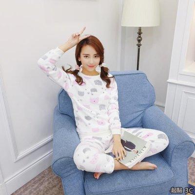 『起點3c館』韓版甜美可愛珊瑚絨睡衣秋冬季女式圓領套頭長袖法蘭絨家居服套裝