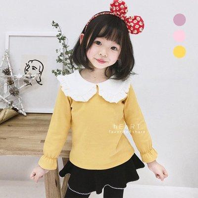 【可愛村】公主風荷葉邊娃娃領上衣 長袖上衣 童裝
